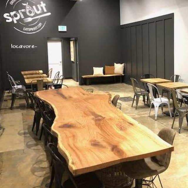 Live edge tables finished and installed! We are thrilled our customer is as happy with them as we are. Looking forward to their grand opening! @eatsprout St. Michaels